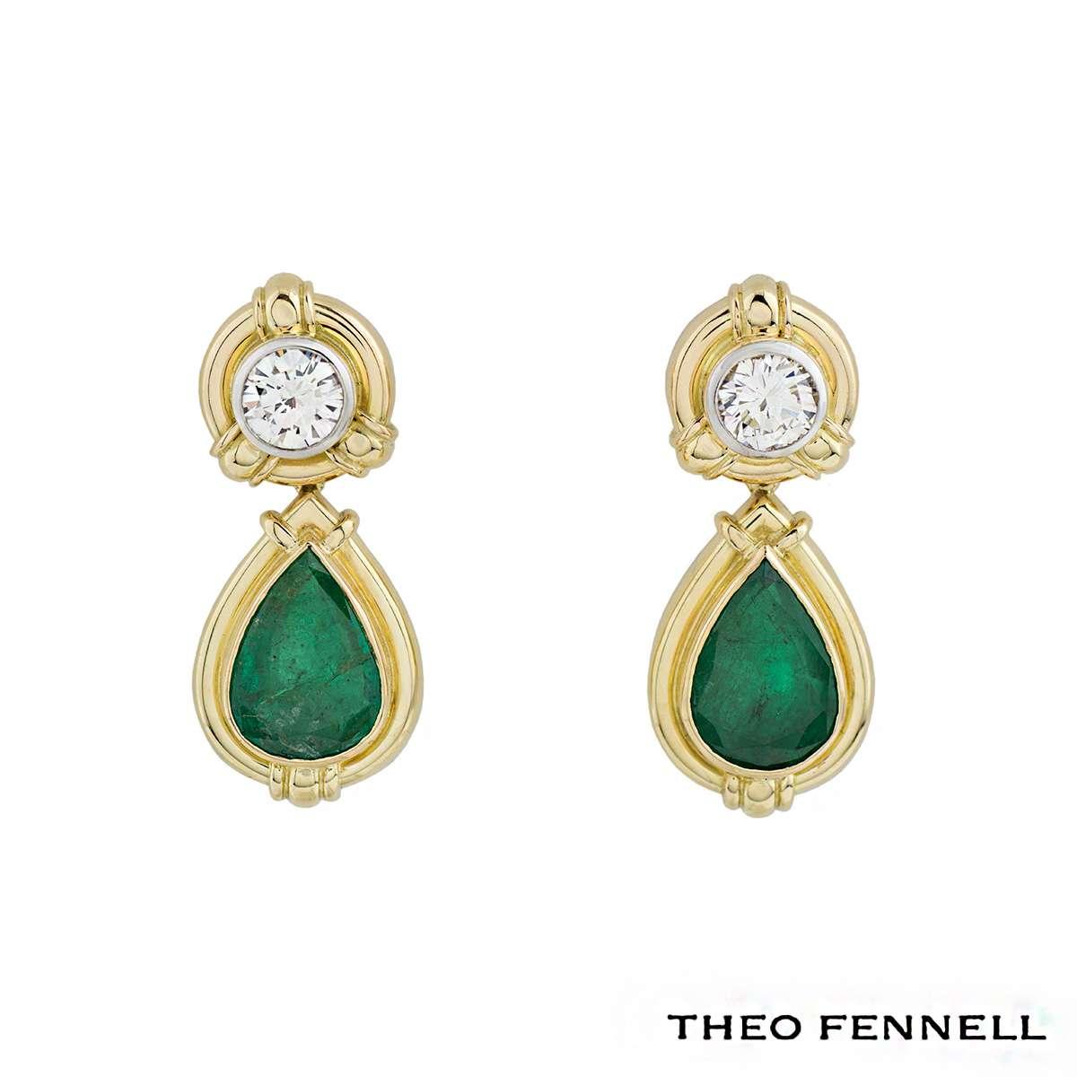 Theo Fennell Yellow Gold Diamond & Emerald Drop Earrings